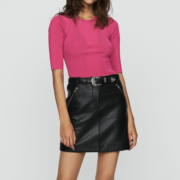 Fine knit sweater with short sleeves : New Collection color Fuschia