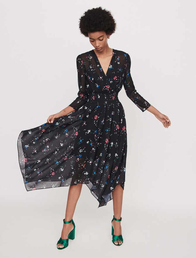 Printed-muslinscarf dress - Dresses - MAJE