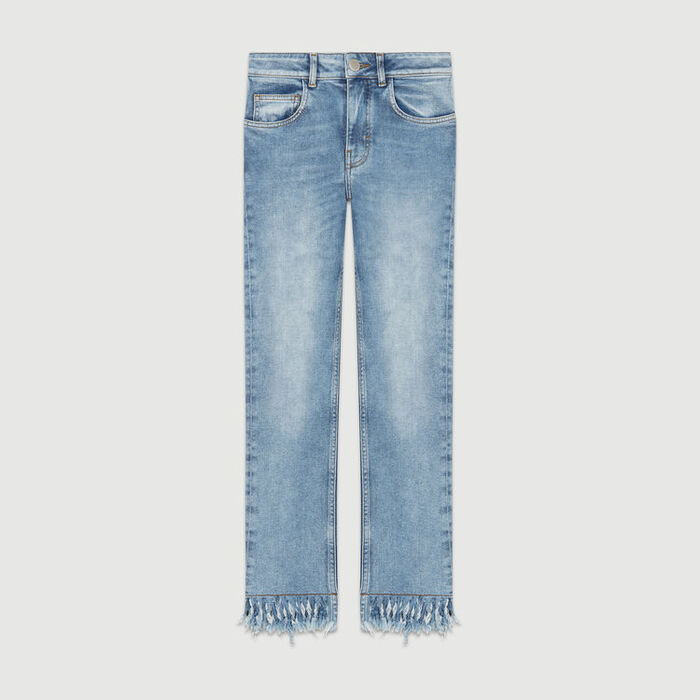 Straight cut jeans with fringed hem : Pants & Jeans color Denim