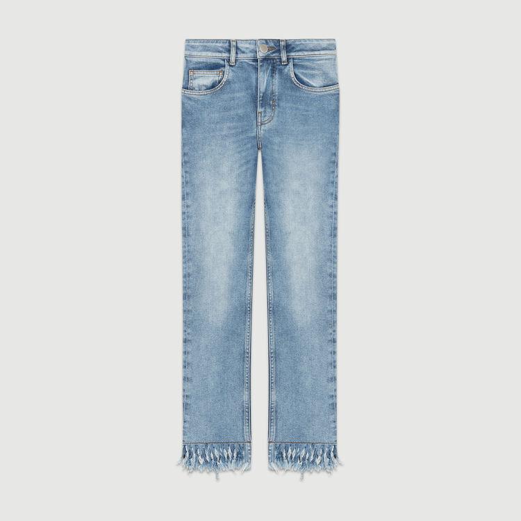 Straight cut jeans with fringed hem : Pants & Jeans color Denim