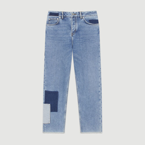 Straight-leg jeans with pieces : Pants & Jeans color Blue