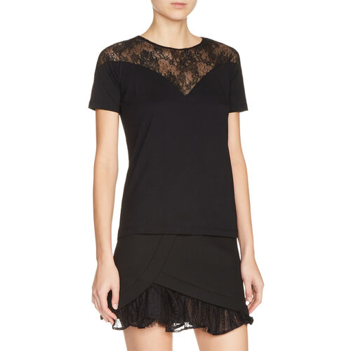 Dual-material top with lace - Tops & T-Shirts - MAJE
