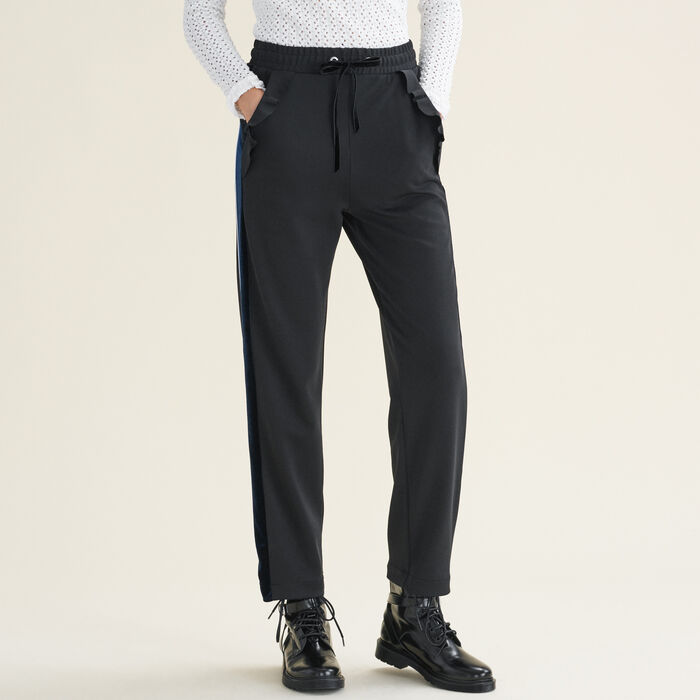 Straight-cut jogging-style trousers -  - MAJE