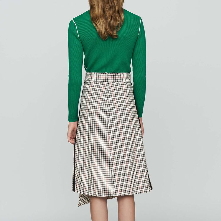 Long asymmetric plaid skirt : Skirts & Shorts color CARREAUX