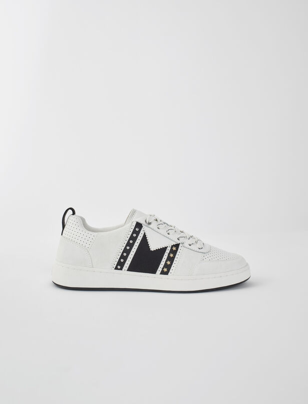 마쥬 MAJE Black and white leather sneakers,White / Black