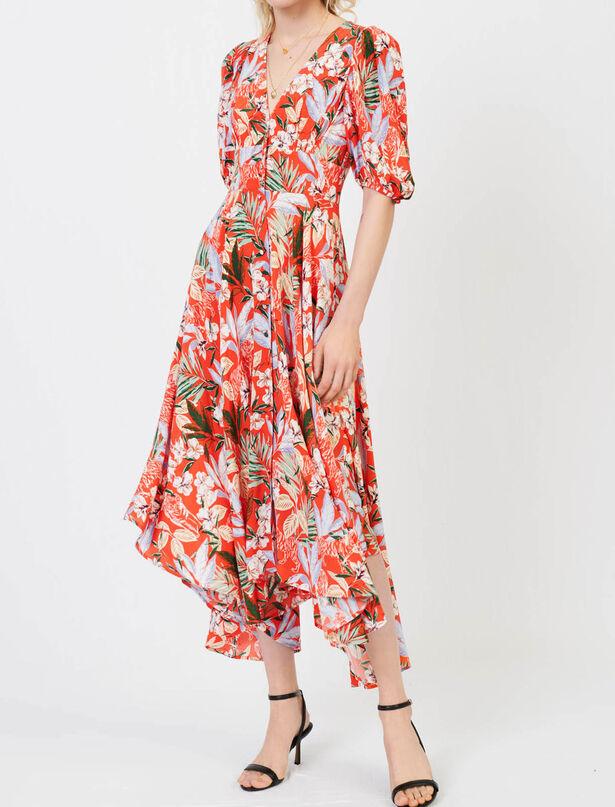 Maje Asymmetric dress in printed crepe