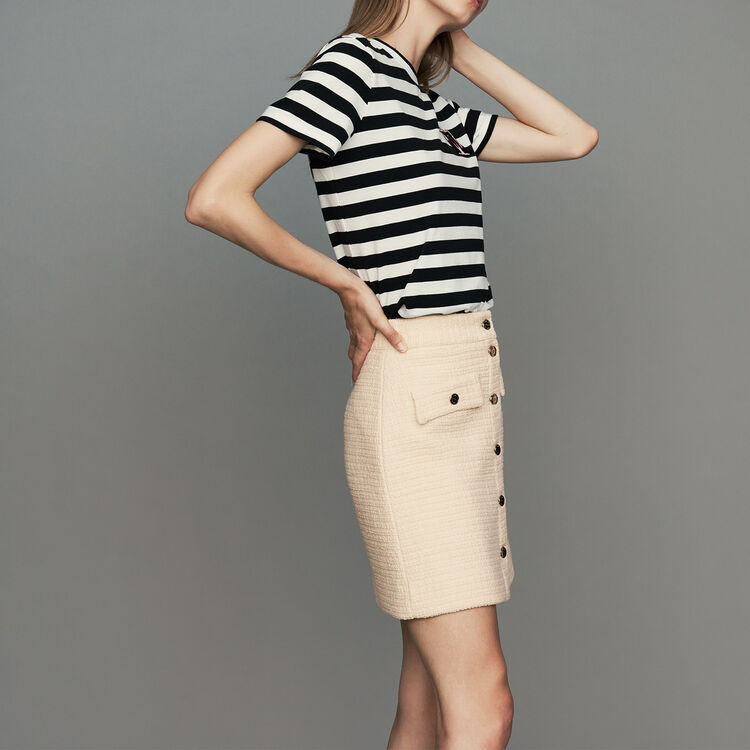 Tweed trapeze skirt : Skirts & Shorts color Ecru