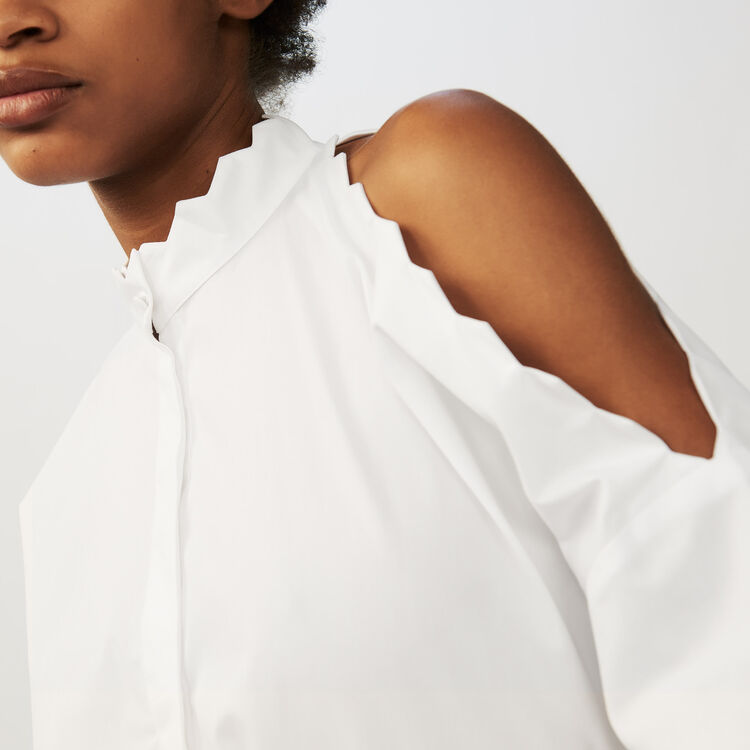 Bare shoulder cotton shirt : Tops & Shirts color WHITE