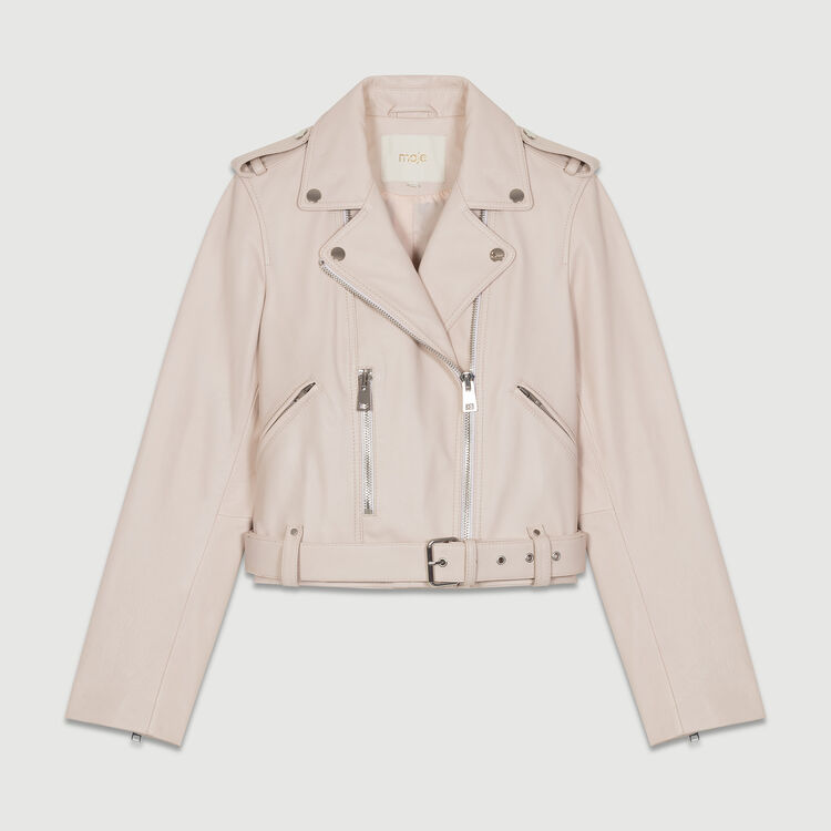 Perfecto-style leather jacket : Coats & Jackets color Nude