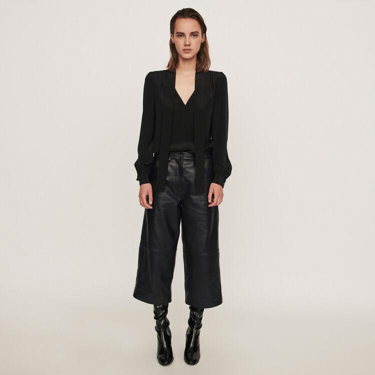 Leather bermuda-like pants : 70s belong to Women color Black