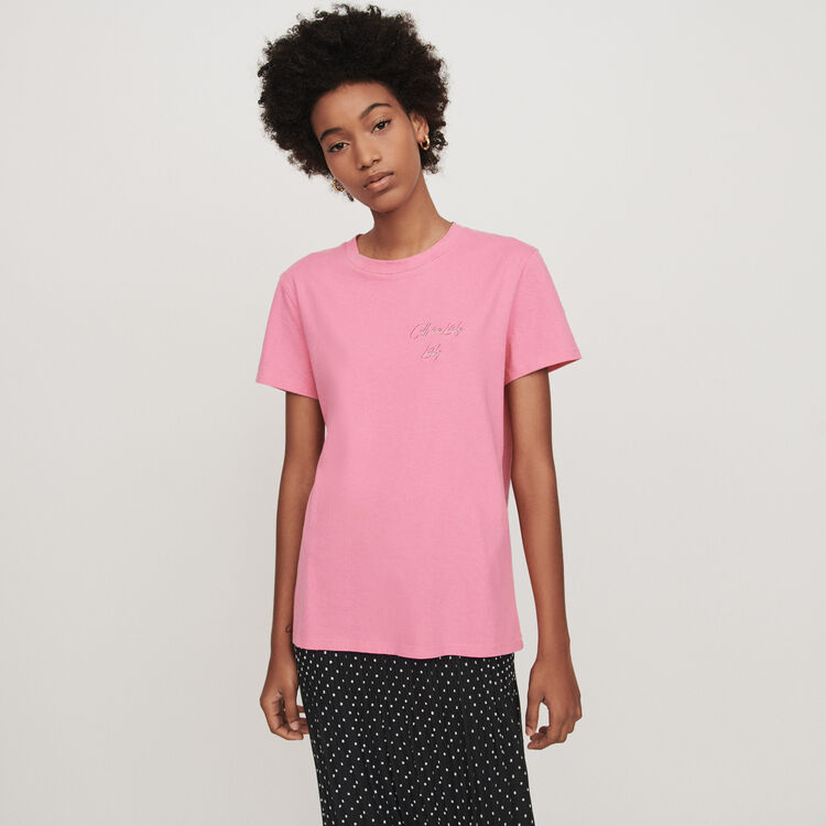 Embroidered short-sleeved t-shirt : Tops & T-Shirts color Pink