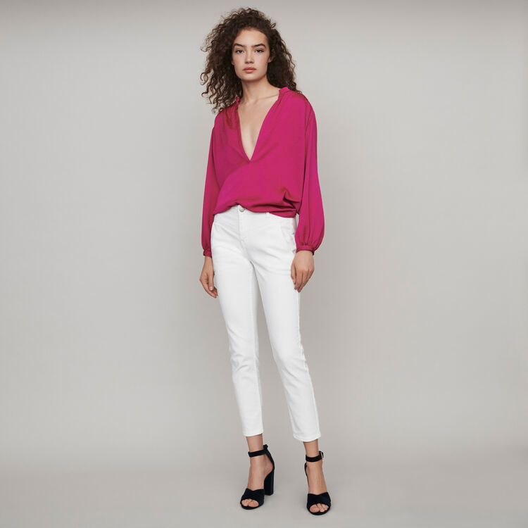 Straight-cut ripped jeans with pockets : Fall Pre-Collection color White