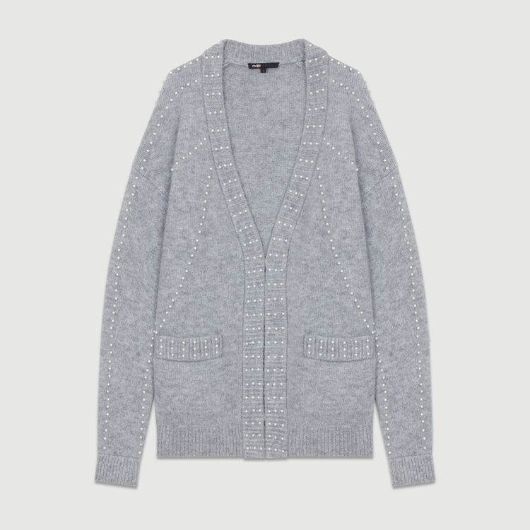 Long knit jacket with pearls : Sweaters color Grey