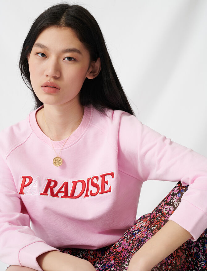 Soft sweatshirt with Paradise embroidery - Sweaters - MAJE