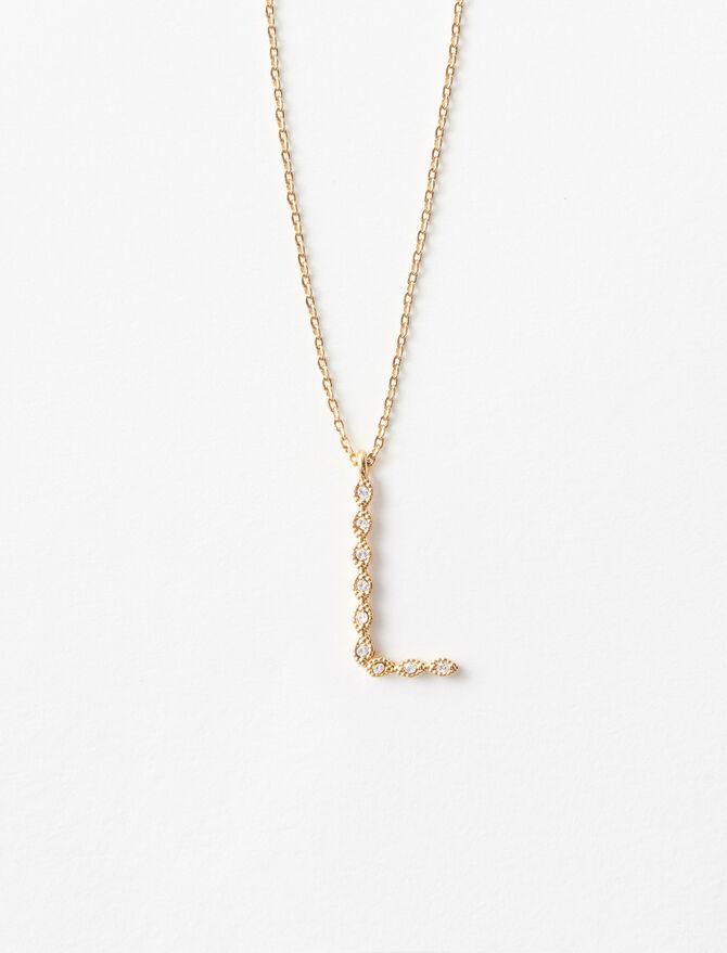 Rhinestone L necklace -  - MAJE