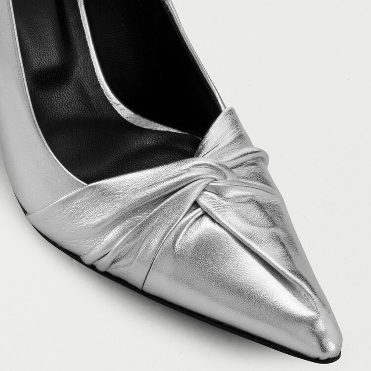 Draped pumps in silver leather : Shoes color Silver
