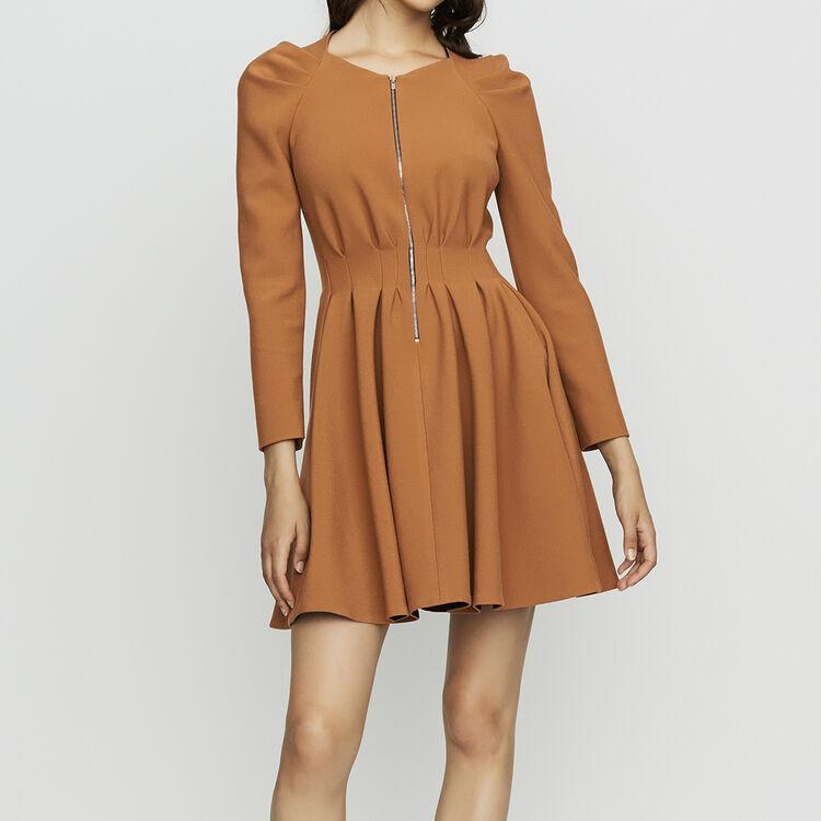 e281364edb394 Dresses true Skater dress with pleats   Dresses color Camel