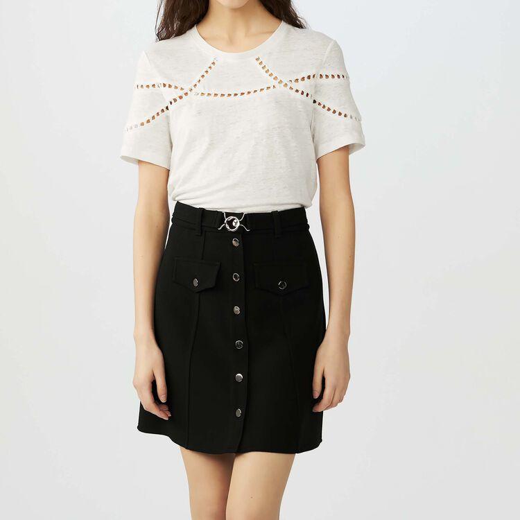 Embroidered linen t-shirt : Tops & Shirts color Ecru