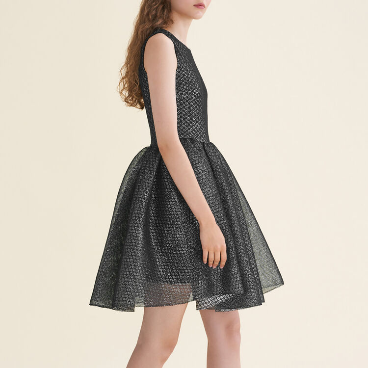 Tulle and Lurex sleeveless dress : null color