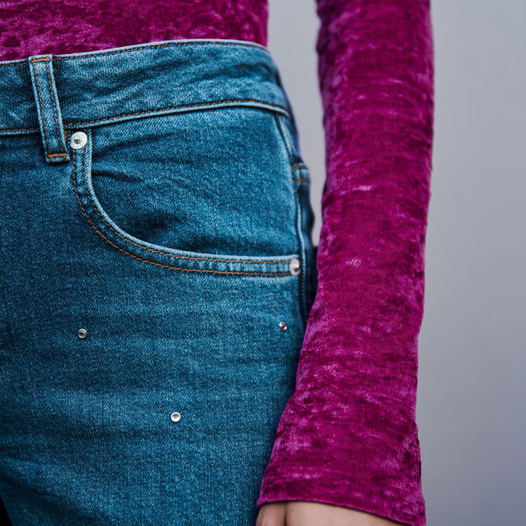 Strass-covered jean : Pants & Jeans color Blue
