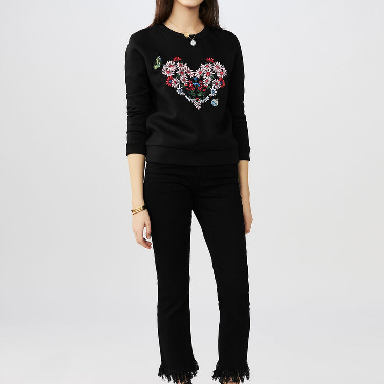 Quilted sweatshirt with embroidery : Sweaters color Black 210