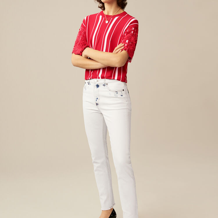 Straight-leg pants with contrast details : Pants & Jeans color White