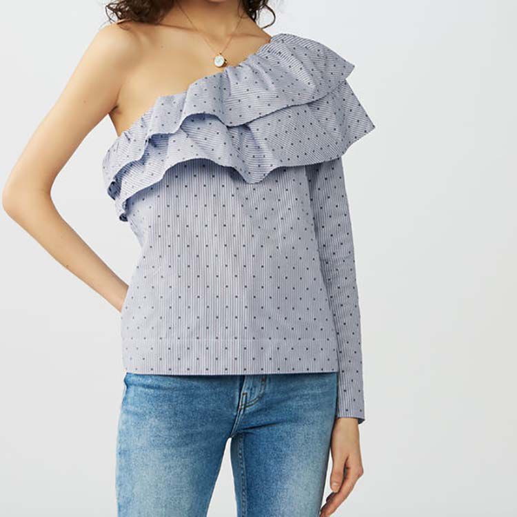 Striped top with asymmetric shoulders : Tops & Shirts color Blue
