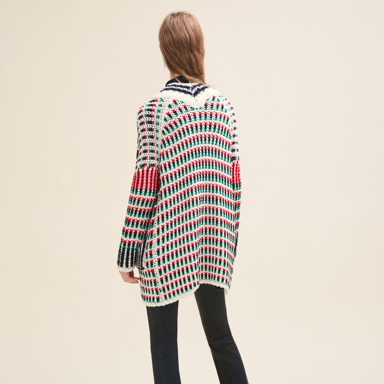 Long multi-coloured knit cardigan : null color