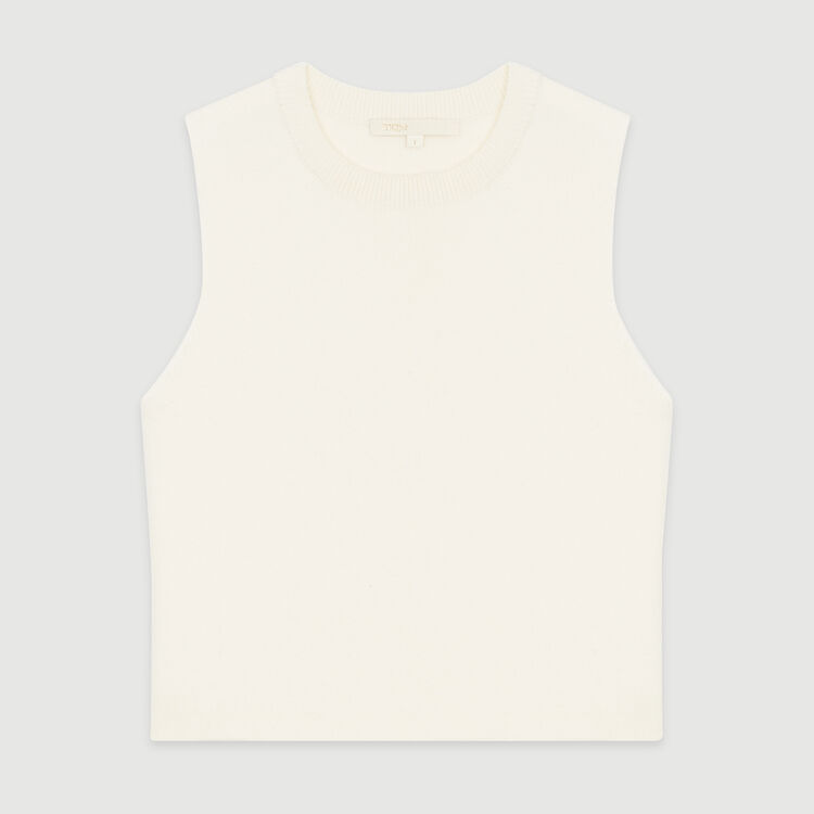 Sleeveless sweater in mixed cotton : Sweaters color Ecru