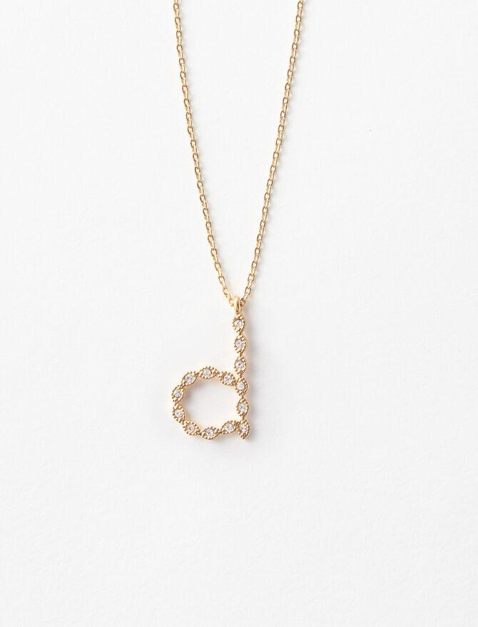 Rhinestone D necklace - Jewelry - MAJE