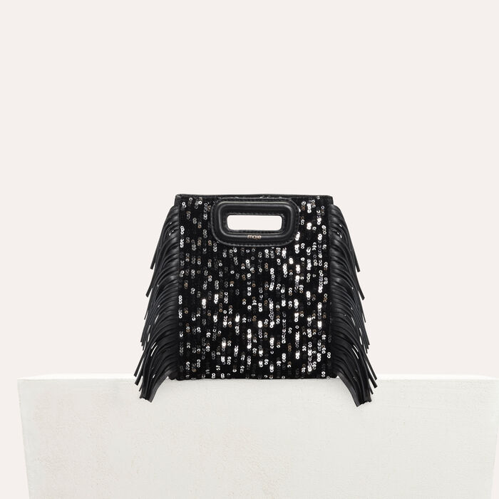Mini M bag in leather with sequins : Bags color Black 210