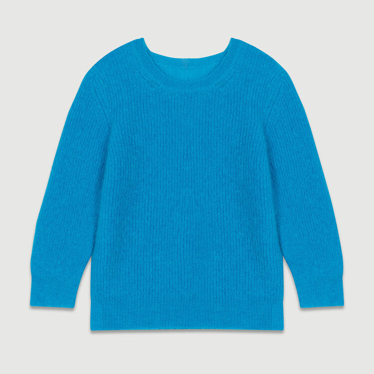Cropped mohair sweater : Sweaters color Blue