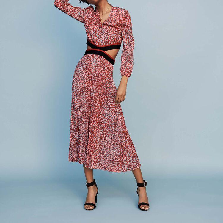 9b39855990 Long pleated dress in leopard print