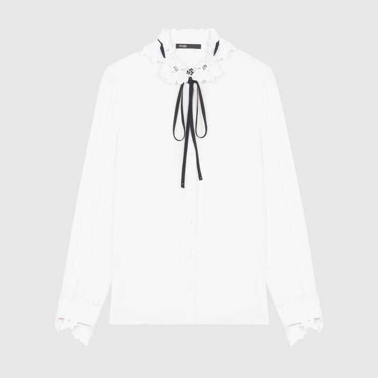Blouse with guipure detailing : The Spring Essentials color White