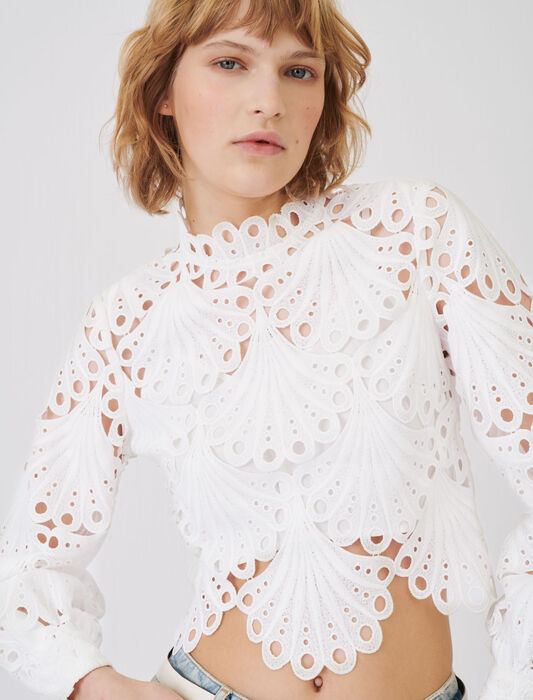 Guipure top : Tops & T-Shirts color White