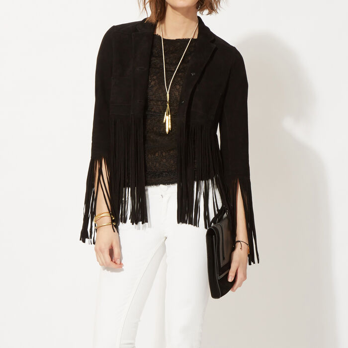 Suede jacket with fringes  : Copy of Sale color
