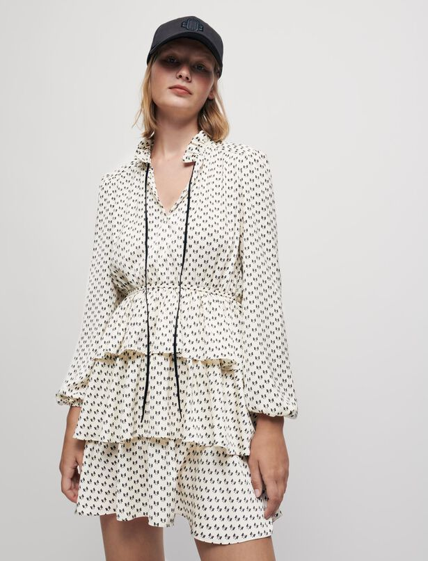 Maje Bow print satin dress