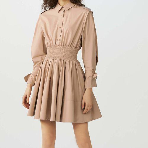 Smocked shirt dress : Dresses color Beige