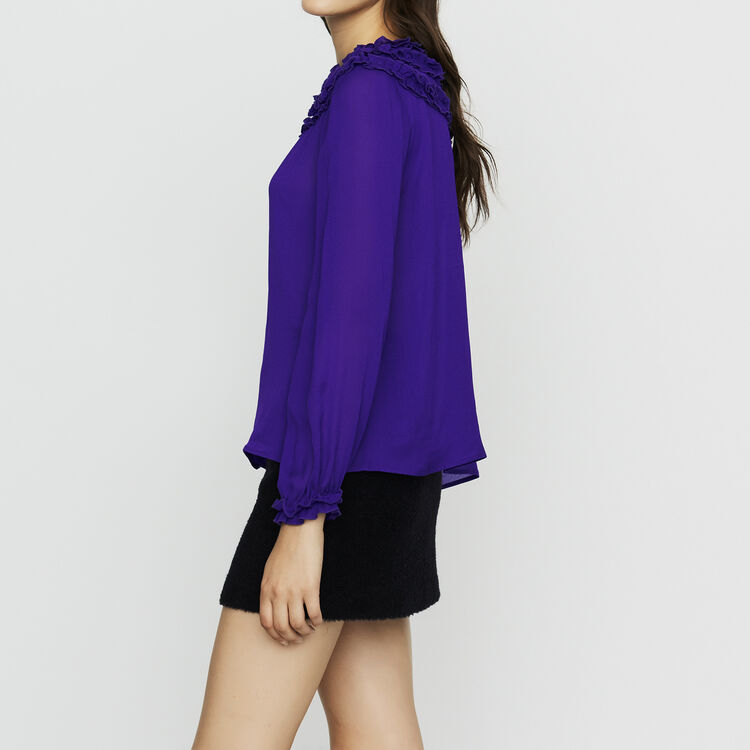 Crepe top with ruffles : Tops & T-Shirts color Purple