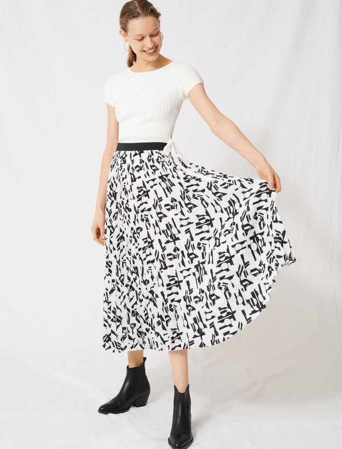 Pleated skirt with an arty print - Skirts & Shorts - MAJE