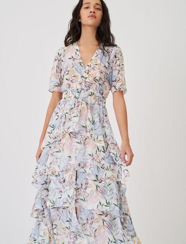 Maje Asymmetrical dress in printed muslin