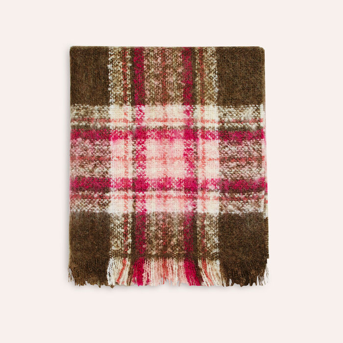 Thick checked scarf : Scarves color Khaki
