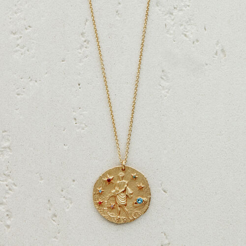 Aquarian zodiac sign necklace : New Collection color GOLD