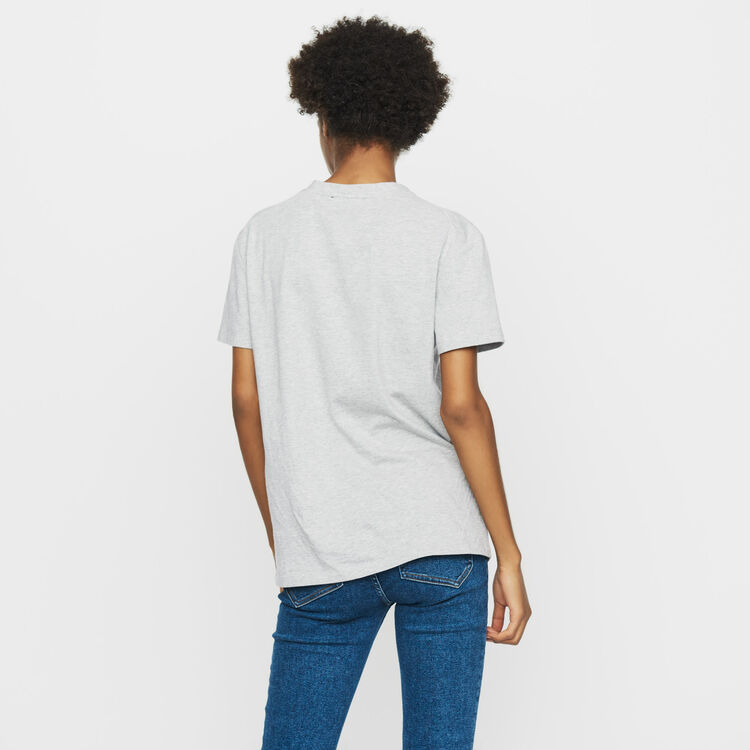 Cotton embroidered T-shirt : Tops & Shirts color Grey