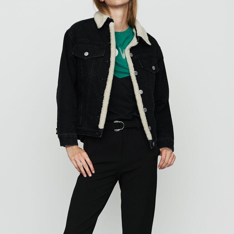 Denim jacket with shearling details : Coats & Jackets color Black 210