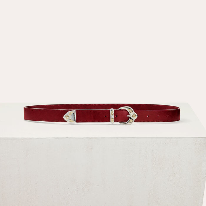 Scalloped buckle leather belt -  - MAJE