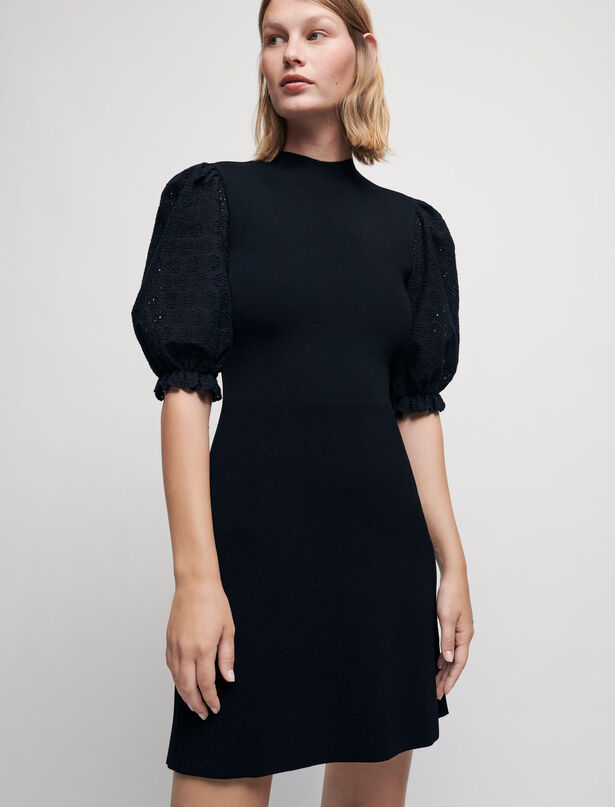 Maje Knit dress with guipure sleeves