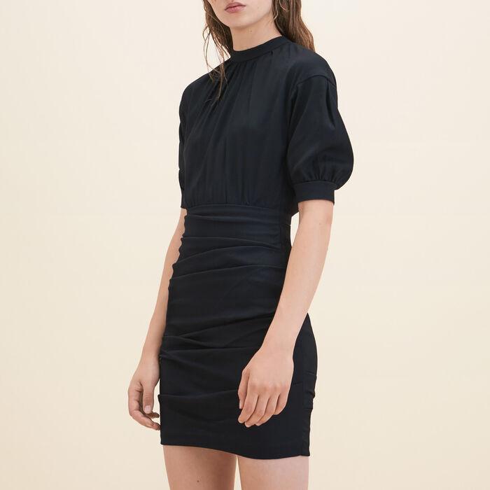 Draped dual-material dress -  - MAJE