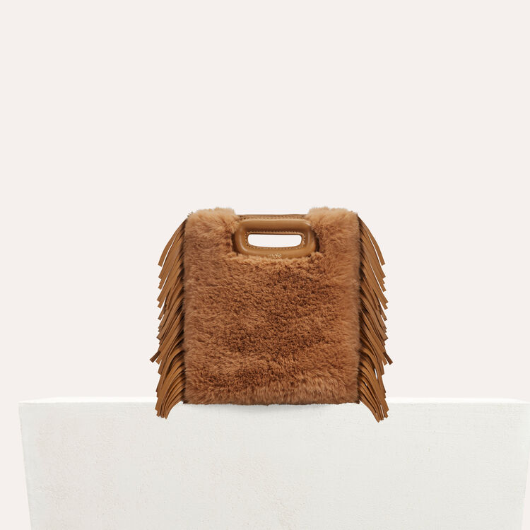 Mini M bag in leather with novelty fur : Bags color Beige