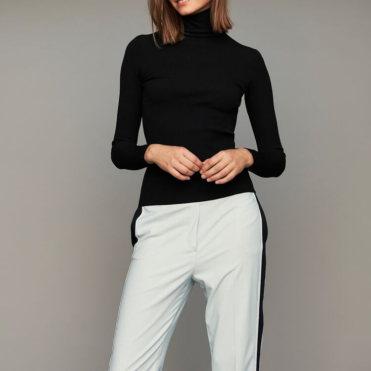 Turtleneck skinny ribbed sweater : Sweaters color Black 210